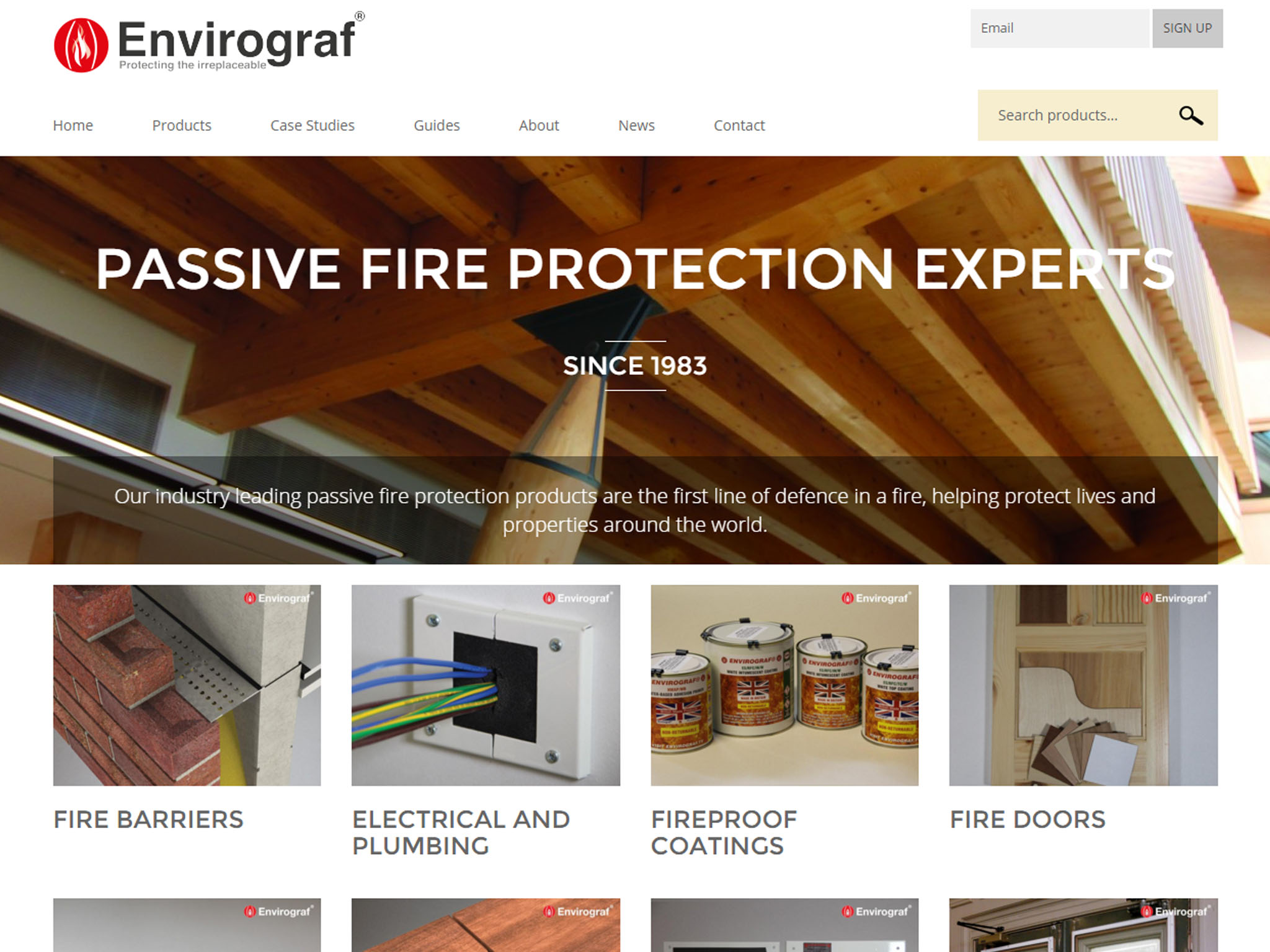 The home page of the Envirograf website.
